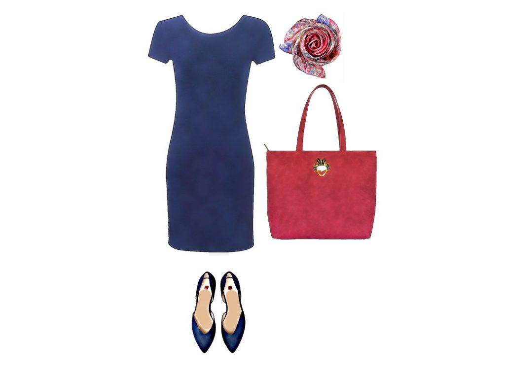 Casual chic kombinacija za shopping. Haljinu je lako presvući u kabini, a u torbu staje mnogo toga.