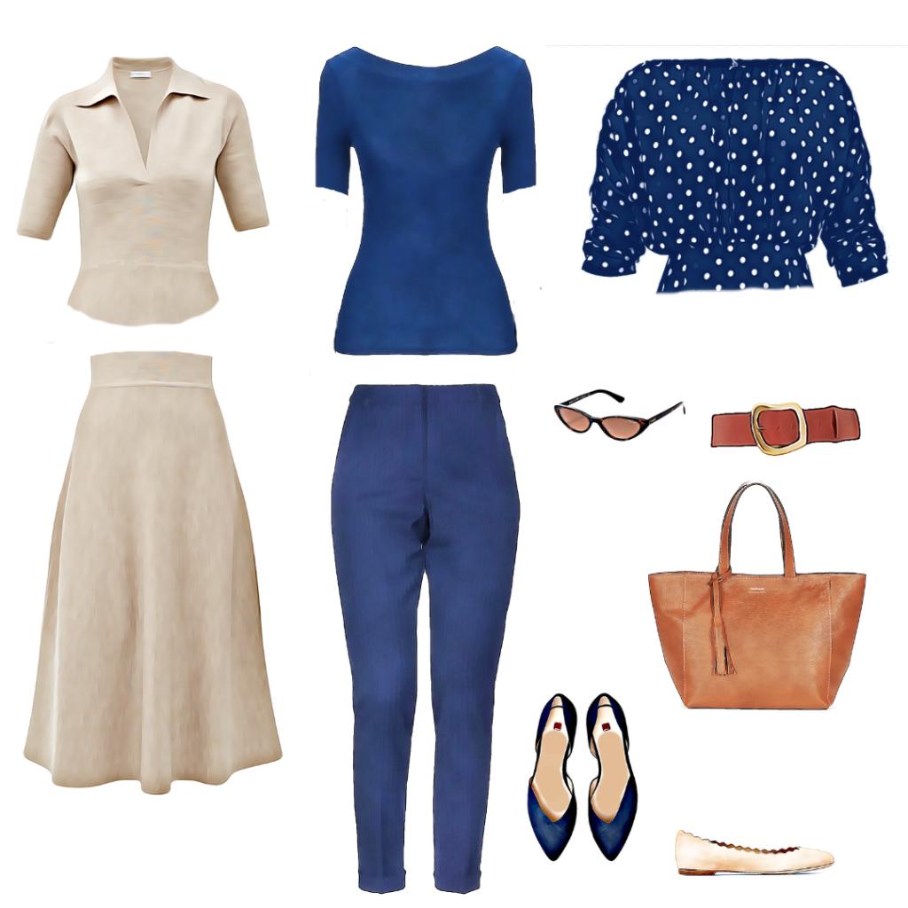 Primer male letnje modne kapsule formirane oko teget pantalona: teget majica, bež dvodelna haljina i dezenirana teget bluza sa tufnicama.