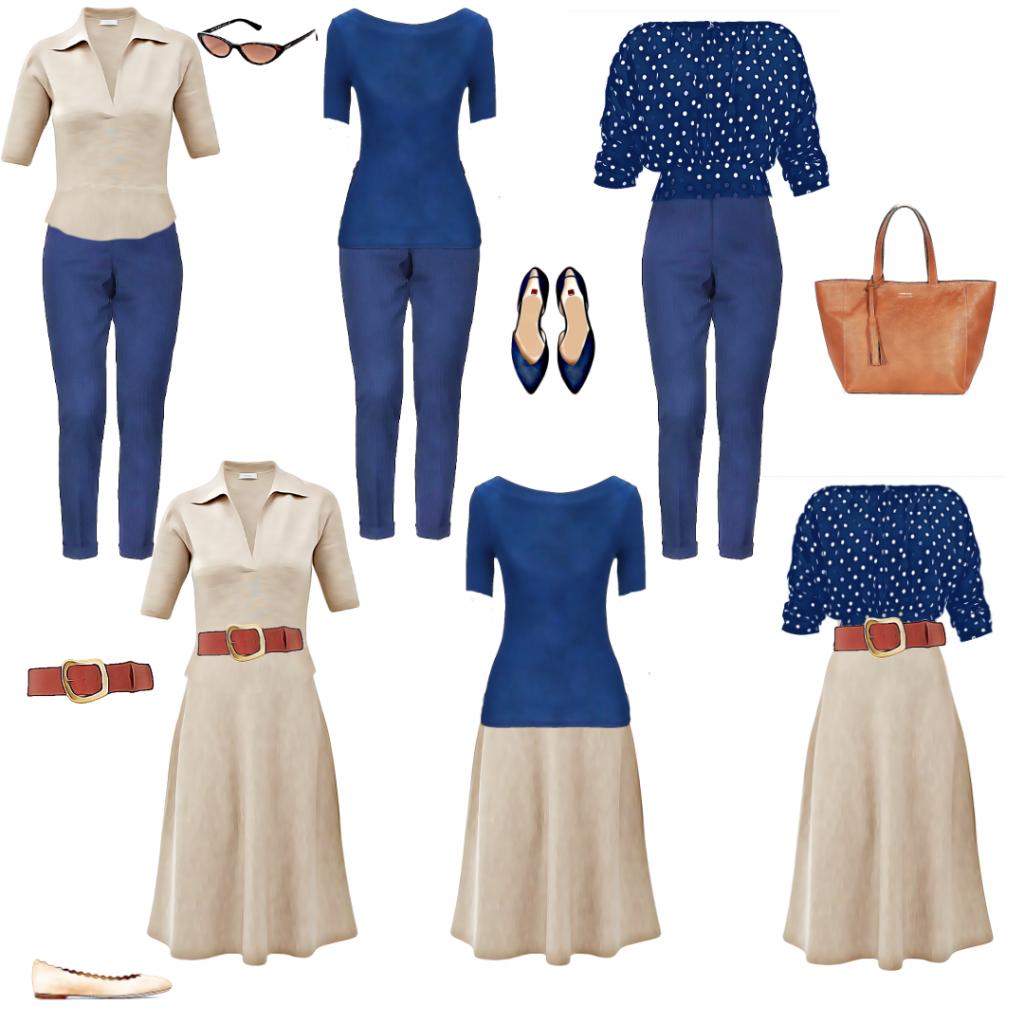 modna kapsula - pet odevnih predmeta, šest kombinacija koje se mogu dopuniti aksesoarom