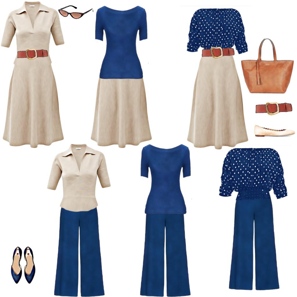 Palazzo pantalone, modna kapsula - pet odevnih predmeta, šest kombinacija koje se mogu dopuniti aksesoarom
