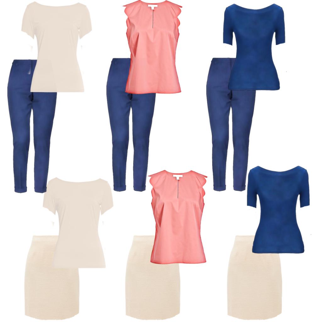 """Da osnlvnu modnu kapsulu transformišemo u Casual Chic, prvi korak je da odaberemo boju kojom ćemo """"naglasiti"""" izgled."""